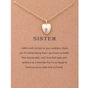 COMING SOON!! Sister Heart Charm Gold Necklace